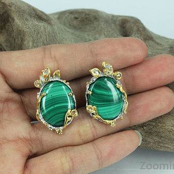 Malachite Jewelry,Green Earrings,Clip-Post Earrings,Leaf Design Earrings,One of a Kind,Gift Idea,Unique Earrings,green stone,gold plating