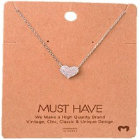 Must Have-Stone Bling Heart Necklace, Silver