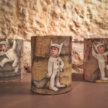 "Artimorean-Made Vintage ""Where the Wild Things Are"" (1963) Decoupaged Honeycomb Pottery Barn 3 Votive Set - Art by Maurice Sendak"