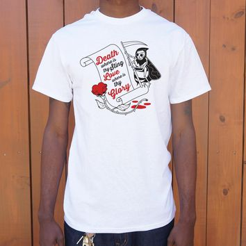 Death where is thy sting? Love, where is thy glory? [William Shakespeare] Men's T-Shirt