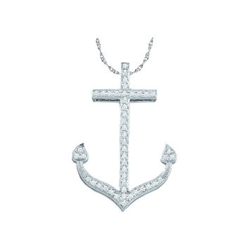 10kt White Gold Womens Round Diamond Anchor Nautical Ocean Pendant 1/6 Cttw 49966