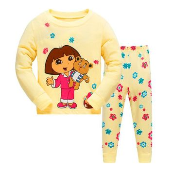 Dora the Explorer & Teddy Bear Cartoon Sleepwear kids long-sleeved w/pants (2-piece) baby clothes