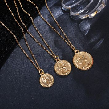 new fashion Vintage Carved Coin Medallion Necklace