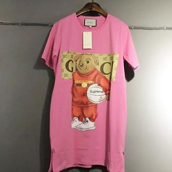 GUCCI 3D Cartoon Print Bear T-Shirt Modal Cotton Oversize Dress Pink