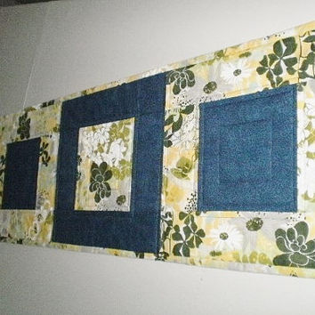 Quilted Table Runner Blue Yellow Handmade Modern Summer Table Decor Accent Piece Wedding Shower Gift