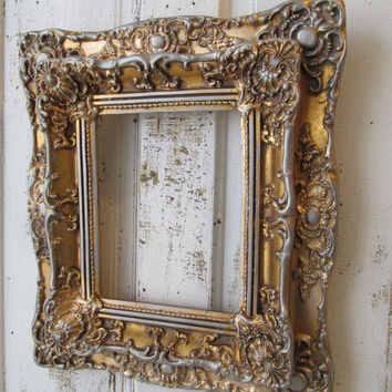 Ornate picture frame wood and gesso gold leaf gilded w/ pewter accent antique French farmhouse heavy wall hanging decor anita spero design