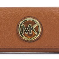 Michael Kors Fulton Luggage Leather Flap Continental Wallet Bag Handbag Purse