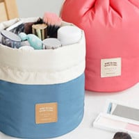 Casual Nylon Pouch Bucket Shaped Cosmetic Storage Makeup Bag Set Travel Case
