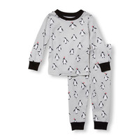 Baby And Toddler Boys Long Sleeve Winter Penguin Print Top And Pants PJ Set