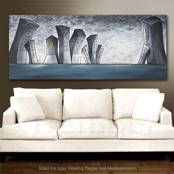 Large original abstract painting 6ft Urban Gray City modern abstract oil painting 30x72 by L.Beiboer free shipping