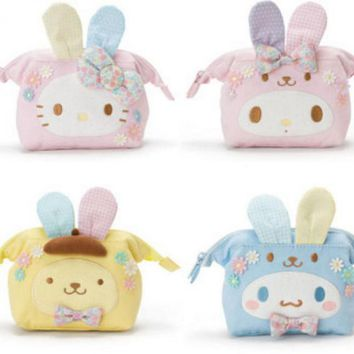 Cartoon My Melody Hello Kitty Cinnamoroll Pudding Dog Plush Bag Purse Anime Makeup Cosmetic bags For Girls Lover Children Gifts