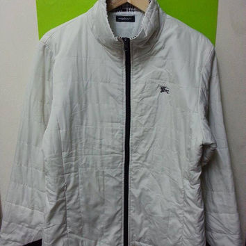 Vintage Burberry London Puffer Winter Bomber White made in Japan Jackets