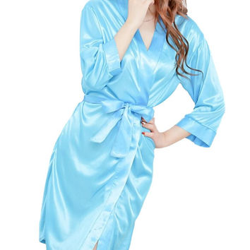 Amazing 4 Colors Summer Spring Women Bathrobe Sexy Lingerie Sleepwear Nightdress Nightgown Bath Robes Free Shipping