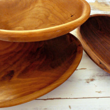Large Vintage Glendon Boyd Hand-carved Wooden Dough Bowls