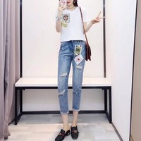 """""""Dolce & Gabbana"""" Women Casual Fashion Poker Cards Queen Short Sleeve T-shirt Jeans Trousers Set Two-Piece"""