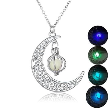 Fashion Women's Stone Shine Moon Pumpkin Charm Luminous Stone Locket Necklaces Pendant Fashion Jewelry Glow in the Dark Necklace