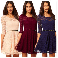 Women Sexy Short Summer Party Prom Cocktail New Formal Lace Homecoming Dress Wine red