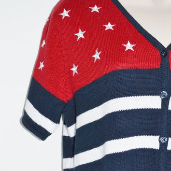 ON SALE Vintage Cardigan Sweater Vintage Red White and Blue Sweater with stars and stripes