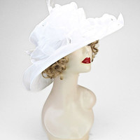 Kentucky Derby Church Wedding Tea Party White Wide Brimmed Layered Ribbon Lace Bow Feather Organza Hat