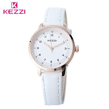 KEZZI Classic Black And White Leather Quartz Watch Brand Women Watches Lovers Casual Watches Relogio Feminino Gift Clocks Ladies