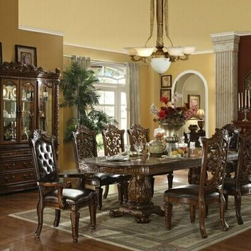 7 pc Vendome cherry finish wood double pedestal dining table set with leather like vinyl upholstered chairs