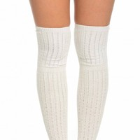 Ribbed Knit Thigh High Socks in Ivory