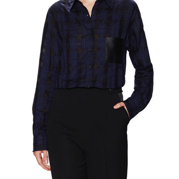 Maje Women's Plaid Collared Shirt with Contrast Pocket - Blue - Size 3