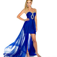 Mac Duggal Prom 2013 - Strapless Royal Blue Chiffon Gown - Unique Vintage - Cocktail, Pinup, Holiday & Prom Dresses.