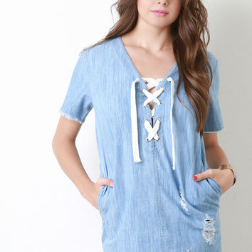 Lace Up Chambray Shift Dress