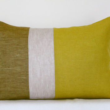 Lumbar color block linen pillow cover, in cream, mustard and citrus yellow, with cotton lining. Spring home decor by Linen Mile