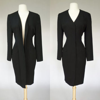 1980s Black wool duster jacket, button up Bicci Florine Wachter dress jacket, petite coat, XS, Small, Size 4 to 6