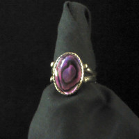 Purple-Dyed Paua Shell in Nickel Silver Ring, size 8