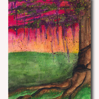 Original Tree Painting -  Abstract Art - Watercolor Painting - SamIamArt