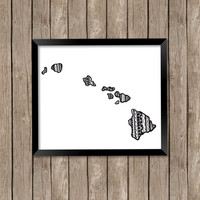 State of Hawaii Art Print, Hawaii Art Print, Hawaii State Art, Hawaii Zentangle