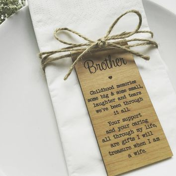 Brother Wedding Custom Place cards, Wedding gifts wooden Rustic