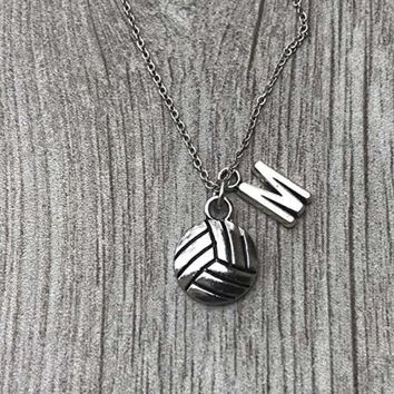 Personalized Volleyball Necklace- Letter Charm