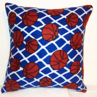 "Pillow Covers 18"" Set of Two - Blue Basketball Pattern"