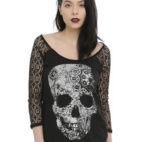 Black & White Skull Lace Girls Top