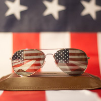 The Top Gun Flag Aviators - American Flag Sunglasses