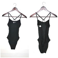 backless NIKE swimsuit early 90s grunge CLUB KID one piece athletic wear designer bathing suit swim suit Nike body suit small