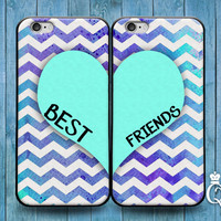 iPhone 4 4s 5 5s 5c 6 6s plus + iPod Touch 4th 5th 6th Generation Cute Best Friends Heart Mint Green Chevron Pattern Custom Cover Bff Case