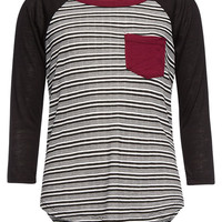 H.I.P. Girls Stripe Raglan Tee Black/White  In Sizes