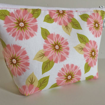Pink Flower Cosmetic Bag Makeup Bag Gadget Bag