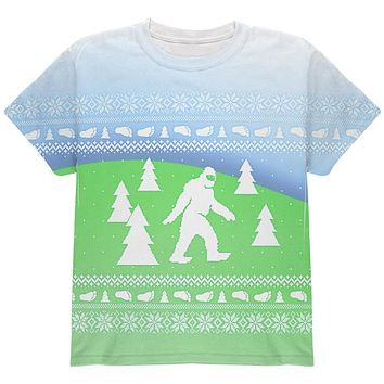 Ugly Christmas Sweater Bigfoot Sasquatch Yeti All Over Youth T Shirt