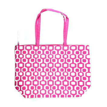 Colorful Large Beach Tote Bag with Bonus Cosmetic Bag - 21-in and 10-3/4-in (Pink & White Squares)