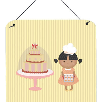 Cake Baker African American Yellow Wall or Door Hanging Prints BB7258DS66