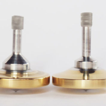 Two spinning tops, Brass and Aluminum Spinning Tops, Metal Spinning Top, Spinning Top