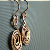 "Ethno Earrings ""Helix"" Copper tribal earrings Patinated oxidized, celtic, ethno, minimalist, rustic - spring trend - wire earrings"