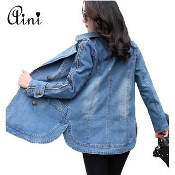 New 2017 Spring Autumn Women Denim Jackets Vintage Casual Coat Female Jean Jacket for Outerwear Female Basic Coats Plus Size 3XL