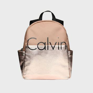 ONETOW Calvin Klein Women College Leather Satchel Bookbag Backpack